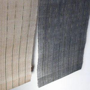 アバカ糸による絣のれん 生成りと墨染