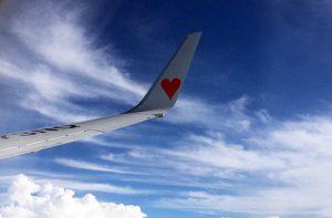 飛行機の窓から見た翼のハートマーク|スカイマーク